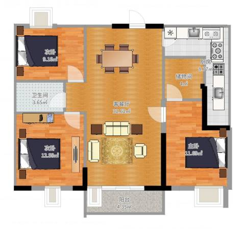 大华锦绣华城公园新纪3室2厅1卫1厨109.00㎡户型图