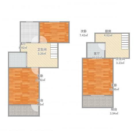 彩香一村3室2厅2卫1厨92.00㎡户型图
