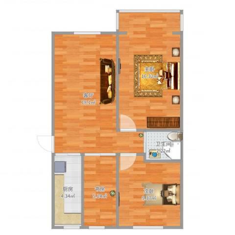 团结湖中路北一条3室1厅1卫1厨69.00㎡户型图