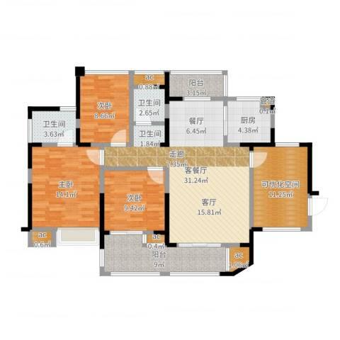 锦绣龙城八期鎏园3室2厅2卫1厨126.00㎡户型图