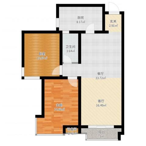 天庆格林小镇1室1厅1卫1厨95.00㎡户型图