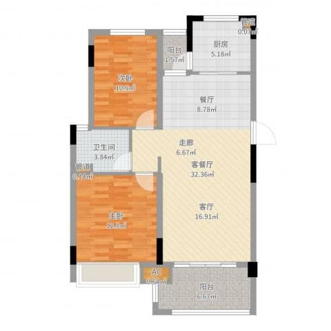 金美花园金泽台2室2厅1卫1厨92.00㎡户型图