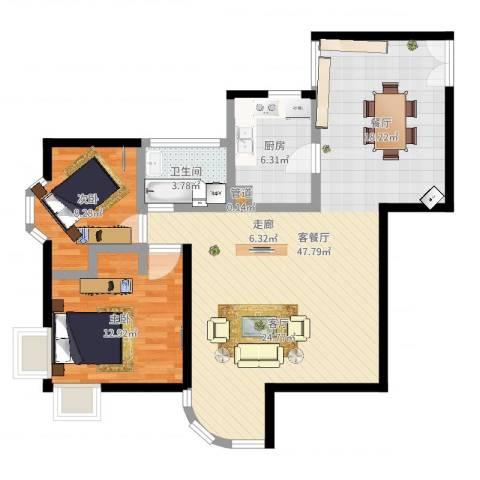 海珠信步闲庭2室2厅1卫1厨99.00㎡户型图
