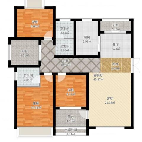 宜居・燕苑3室2厅2卫1厨136.00㎡户型图