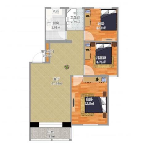 九州花园3室1厅1卫1厨98.00㎡户型图