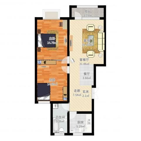 东湖庄园2室2厅1卫1厨95.00㎡户型图
