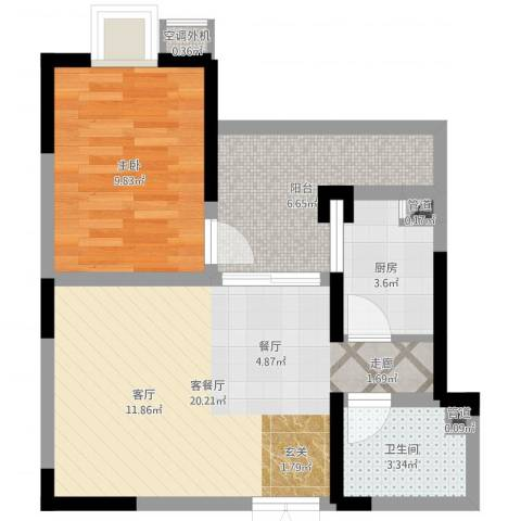 巴国公馆1室2厅1卫1厨55.00㎡户型图