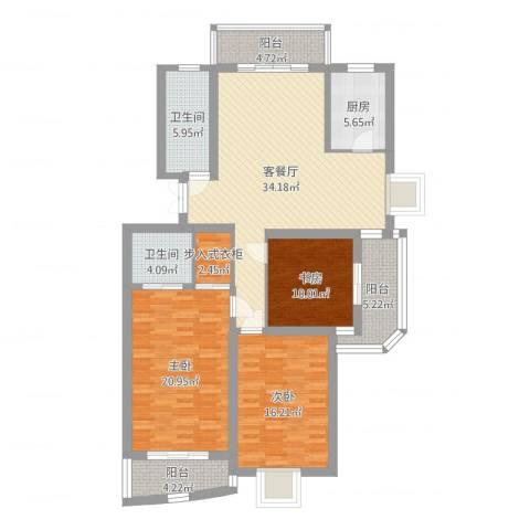 水榭华庭3室2厅2卫1厨142.00㎡户型图
