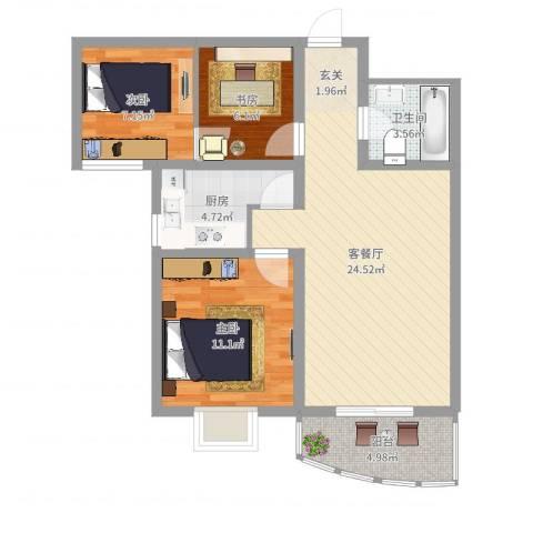 义井佳园琳珑苑3室2厅1卫1厨78.00㎡户型图