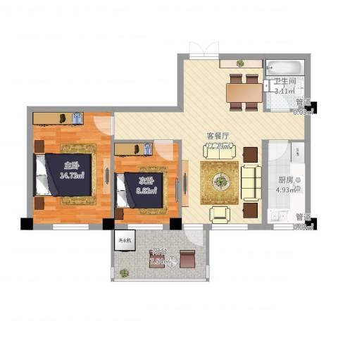 梅福苑2室2厅1卫1厨83.00㎡户型图