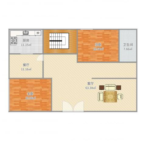 济高龙园2室2厅1卫1厨178.00㎡户型图