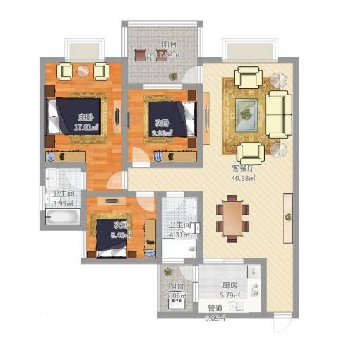梅福苑3室2厅2卫1厨146.00㎡户型图