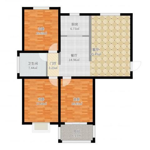 水运雅居3室1厅1卫1厨146.00㎡户型图