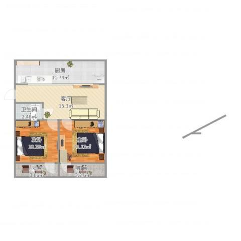 金塘新村2室1厅1卫1厨72.00㎡户型图