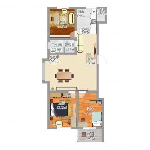 冠华园3室4厅1卫1厨110.00㎡户型图