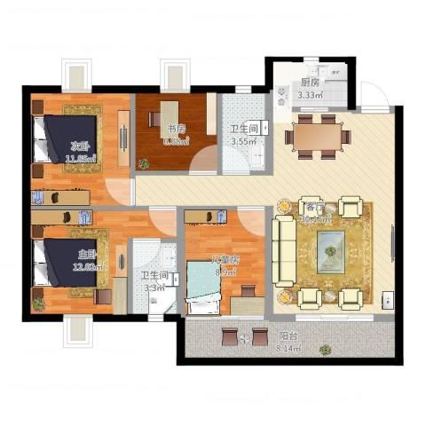 绿茵幸福城4室1厅2卫1厨110.00㎡户型图