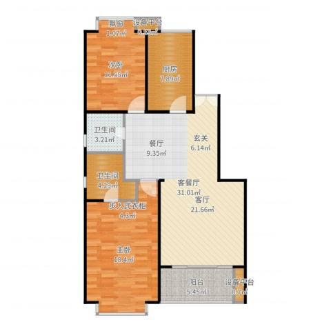 一品亦庄2室2厅2卫1厨104.00㎡户型图
