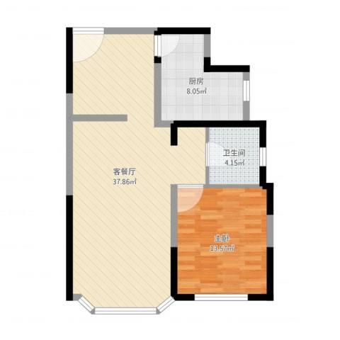 绿洲紫荆花园1室2厅1卫1厨80.00㎡户型图