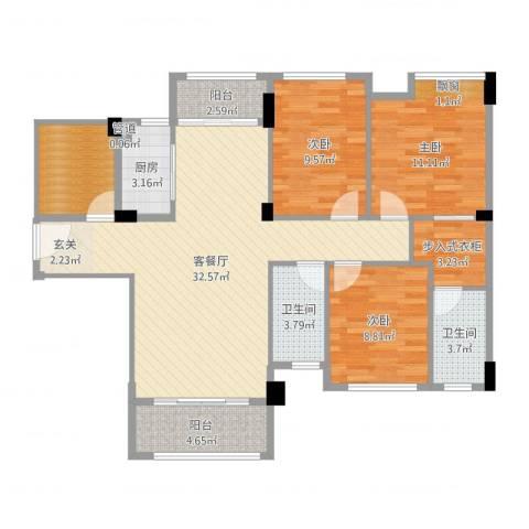 角美中骏四季阳光3室2厅2卫1厨111.00㎡户型图