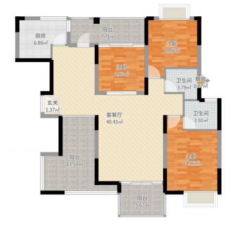 厦航同城湾3室2厅2卫1厨144.00㎡户型图