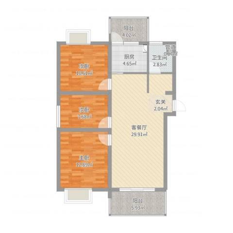 天瑞名城3室2厅1卫1厨98.00㎡户型图