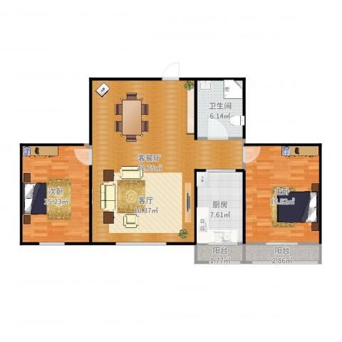 谊城公寓2室2厅1卫1厨116.00㎡户型图
