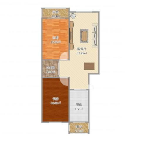 双发温泉花园2室2厅1卫1厨110.00㎡户型图