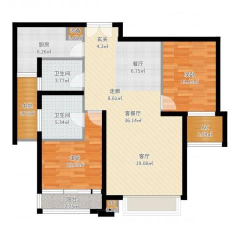 亿城堂庭2室2厅2卫1厨104.00㎡户型图