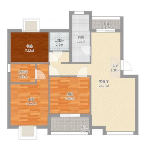 罗马花园二期3室2厅2卫1厨87.00㎡户型图