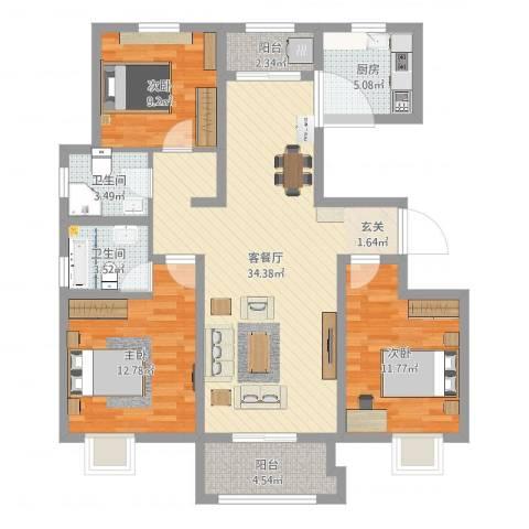 鄢陵恒达名门尚居3室2厅2卫1厨109.00㎡户型图