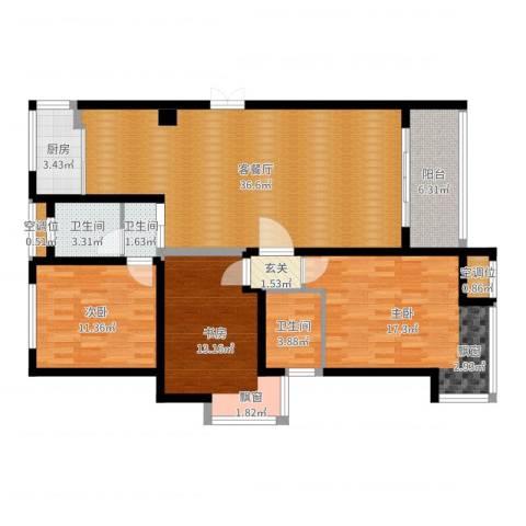 绿地高铁东城3室2厅3卫1厨125.00㎡户型图