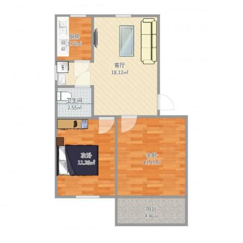 夏园新村2室1厅1卫1厨67.00㎡户型图