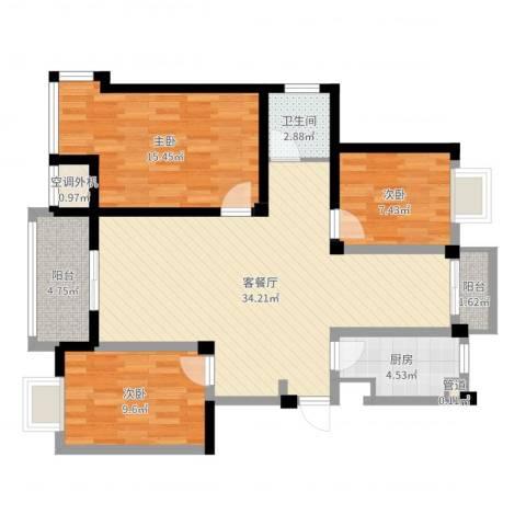 水岸枫情3室2厅1卫1厨102.00㎡户型图
