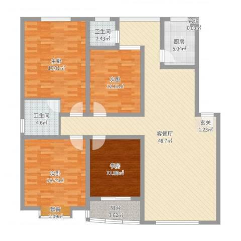 新安花苑4室2厅2卫1厨155.00㎡户型图