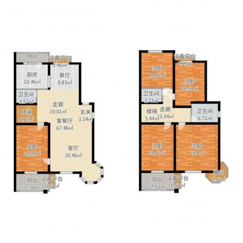 玲珑小筑5室2厅3卫1厨288.00㎡户型图