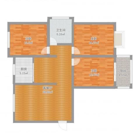 水运雅居3室2厅1卫1厨119.00㎡户型图
