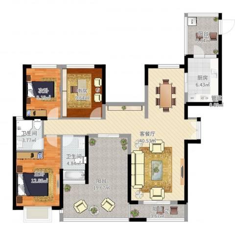 梅福苑3室2厅2卫1厨144.00㎡户型图