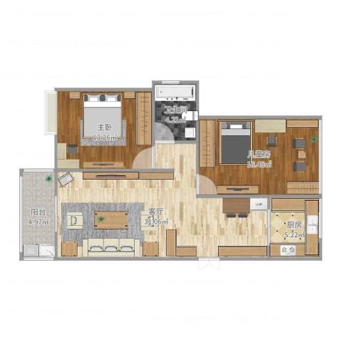 苏宁雅居2室1厅1卫1厨94.00㎡户型图