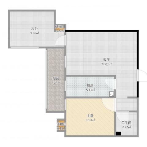天伦北里2室1厅1卫1厨79.00㎡户型图