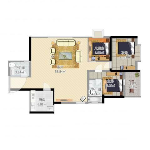 复地优尚国际3室1厅2卫1厨126.00㎡户型图