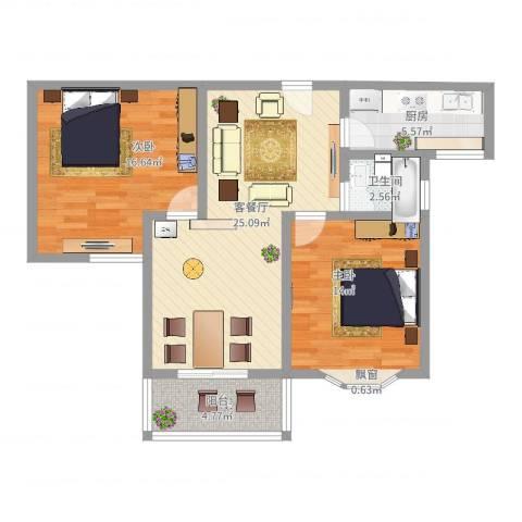 久新悦城2室2厅1卫1厨98.00㎡户型图