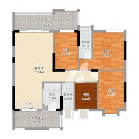 大唐盛世三期4室2厅2卫1厨110.00㎡户型图