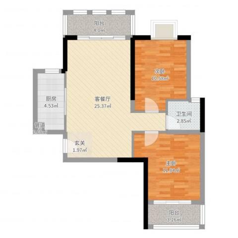 三航公寓2室2厅1卫1厨78.00㎡户型图