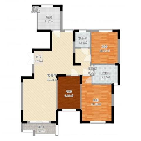 天鹅湖畔3室2厅2卫1厨127.00㎡户型图