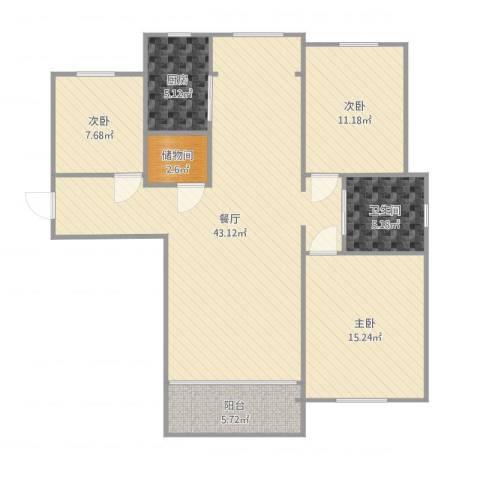 红星海岚谷3室1厅1卫1厨120.00㎡户型图