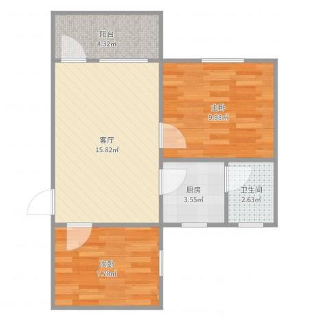 钟村东兴大厦2室1厅1卫1厨55.00㎡户型图