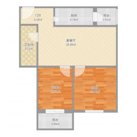 永铁苑2室2厅1卫1厨65.00㎡户型图