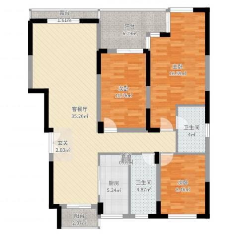 南山巴黎印象3室2厅2卫1厨120.00㎡户型图
