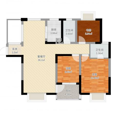 山水湖滨花园二期3室2厅2卫1厨100.00㎡户型图