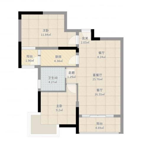 宇丰名苑2室2厅1卫1厨89.00㎡户型图